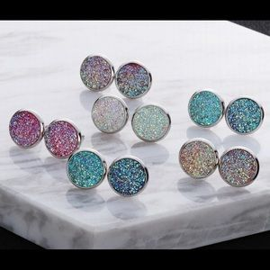 Druzy Style Post Earrings 6pc Set New